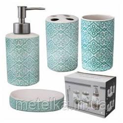 """Керамический набор для ванной комнаты """"Голубой узор"""""""