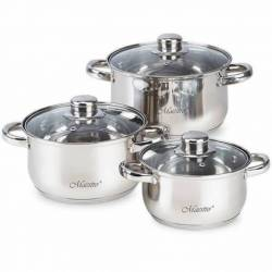 Набор посуды Maestro с серебристыми ручками 6 предметов