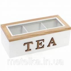 Коробка для зберігання чаю та солодощів на 3 секцій 23 х 10,5 см