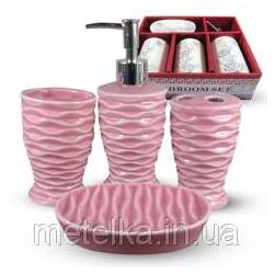Керамический набор для ванной комнаты, розовый