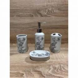 Керамический набор для ванной комнаты, белый с цветочным орнаментом