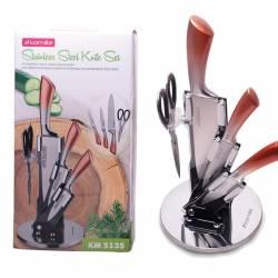 Набор ножей и ножницы Kamille на акриловой подставке 5 предметов