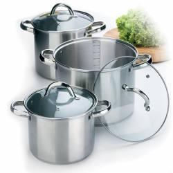 Набор посуды Maestro 3 высоких кастрюли + 3 крышки