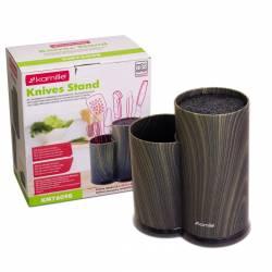 Колода для ножей Kamille Brash Stand Ebony пластиковая двойная 22,5 см