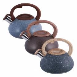 Чайник Kamille темно-серый из нержавеющей стали со свистком для индукции и газа 2,5 л