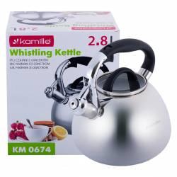 Чайник Kamille из нержавеющей стали со свистком и стеклянной крышкой для индукции и газа 2,8 л