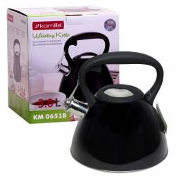 Чайник Kamille из нержавеющей стали со свистком и черной бакелитовой ручкой для индукции и газа 3 л