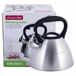 Чайник Kamille из нержавеющей стали со свистком для индукции и газа 3 л