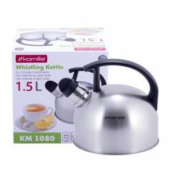 Чайник Kamille из нержавеющей стали со свистком для индукции и газа 1,5 л