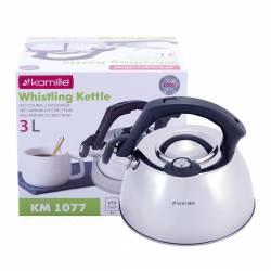 Чайник Kamille из нержавеющей стали со свистком и термометром для индукции и газа 3 л