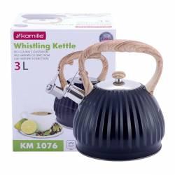 Чайник Kamille из нержавеющей стали со свистком и нейлоновой ручкой для индукции и газа 3 л