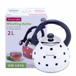 Чайник Kamille Белый из нержавеющей стали со свистком для индукции и газа 2 л