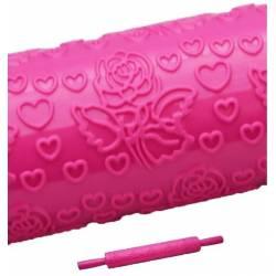 """Скалка текстурная для мастики """"Сердечка з трояндами"""" Empire 32 см"""