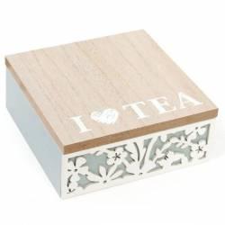 Коробка для зберігання чаю та солодощів на 4 секції 15 х 18 см