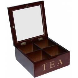 Коробка для хранения чая, 4 секций квадратная